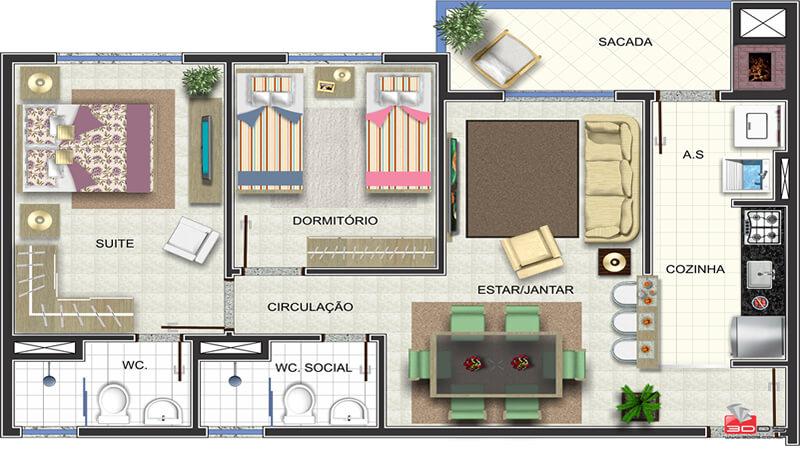 Edificio Residencial Goitacaz - G Ghem Engenharia - Apto_01