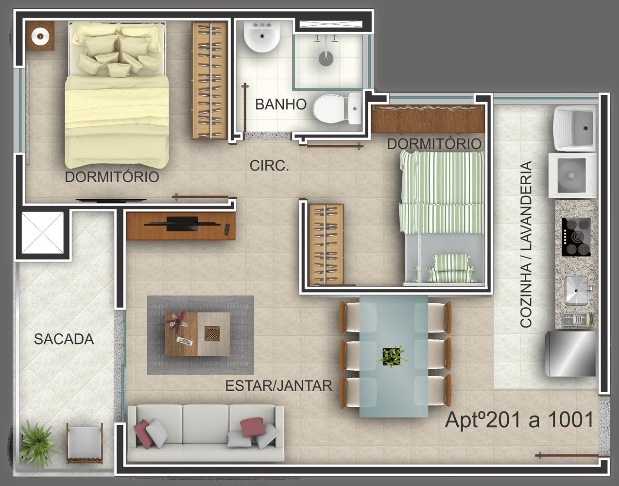 Edifício Residencial Ideal - Planta Baixa Habitada 201-1001 G. Ghem Engenharia