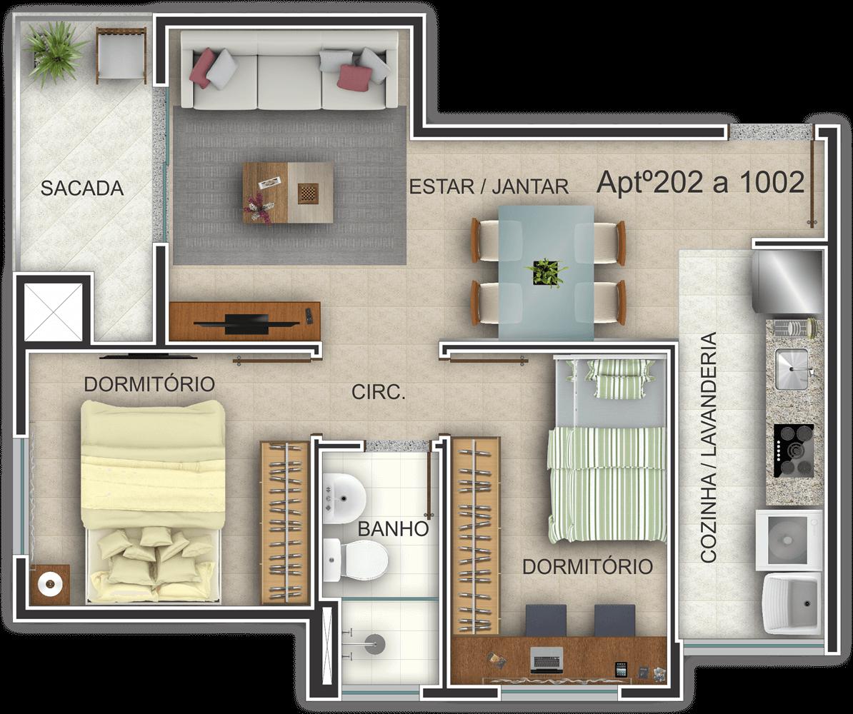 Edifício Residencial Ideal - Planta Baixa Habitada 202-1002 G. Ghem Engenharia
