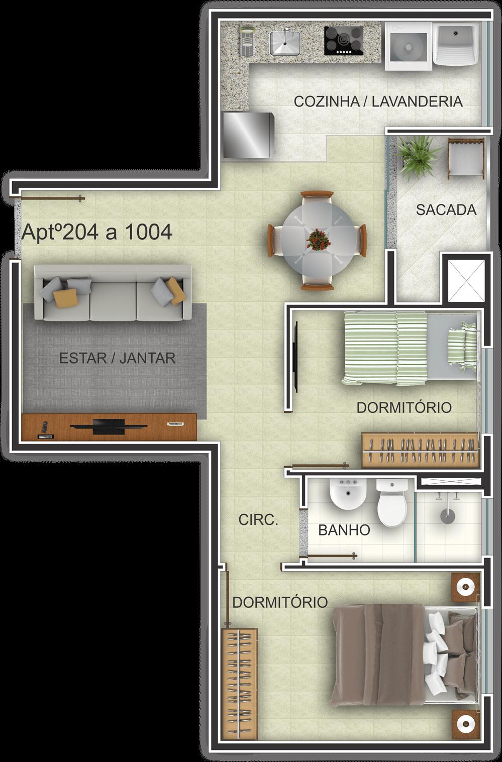 Edifício Residencial Ideal - Planta Baixa Habitada 204-1004 G. Ghem Engenharia