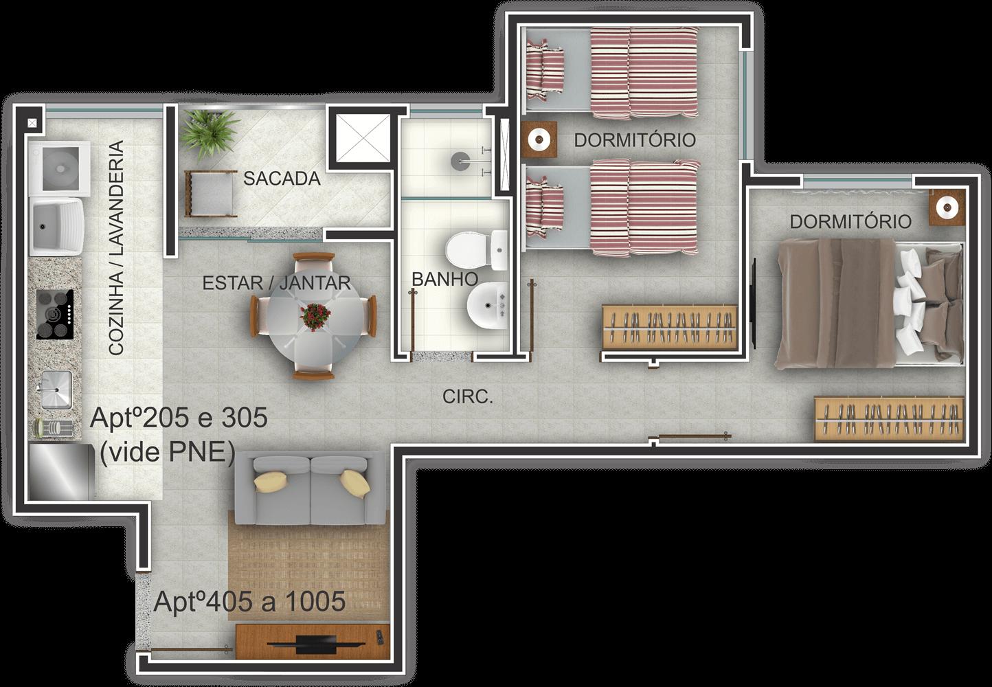Edifício Residencial Ideal - Planta Baixa Habitada 205-1005 G. Ghem Engenharia