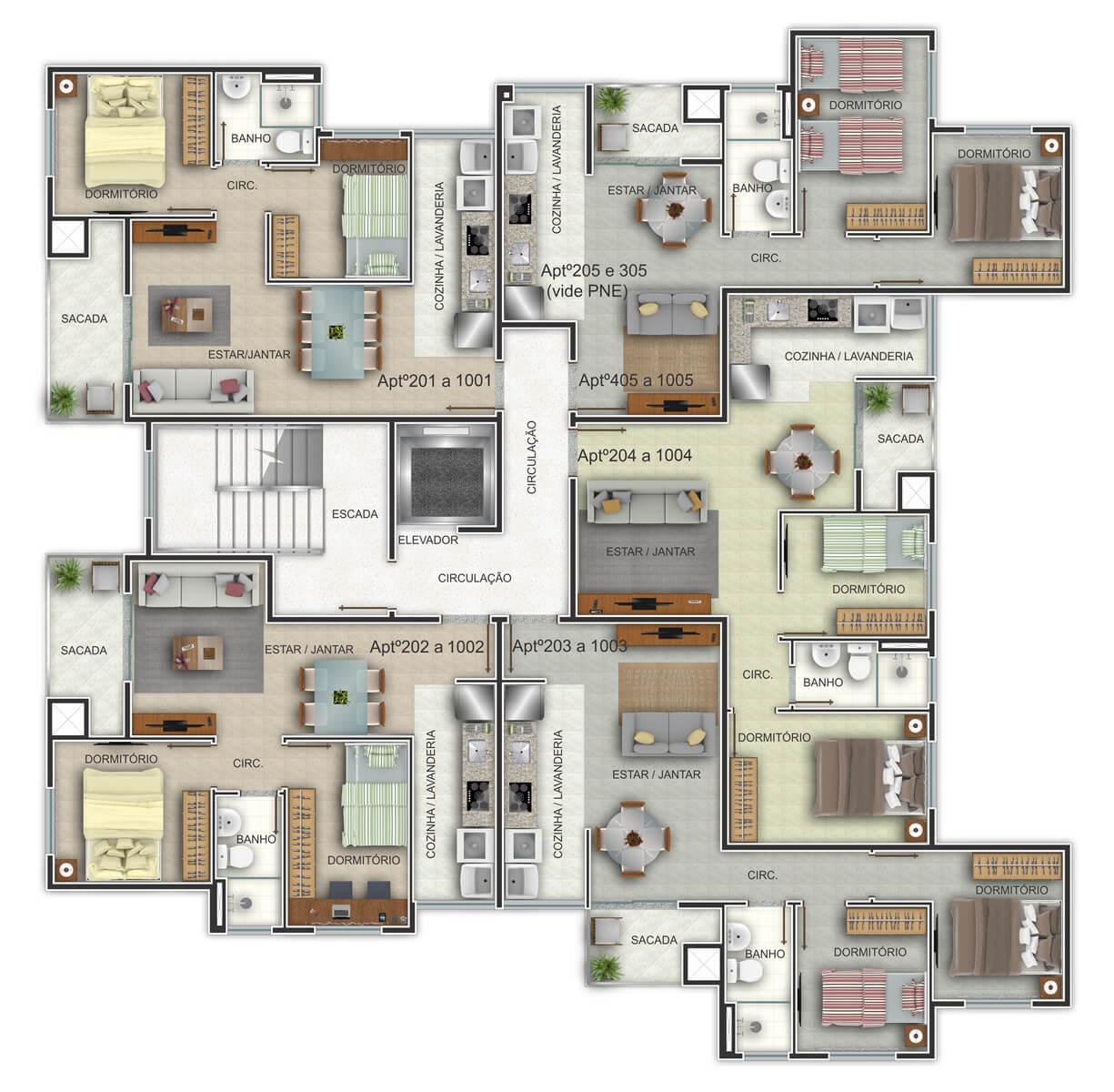 Edifício Residencial Ideal - Planta Baixa Habitada Completa G. Ghem Engenharia